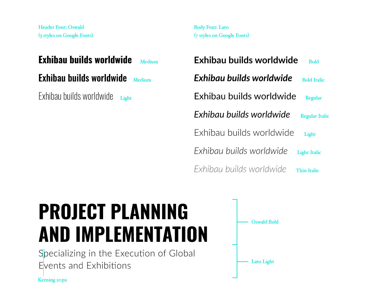 Font selection for Exhibau Website