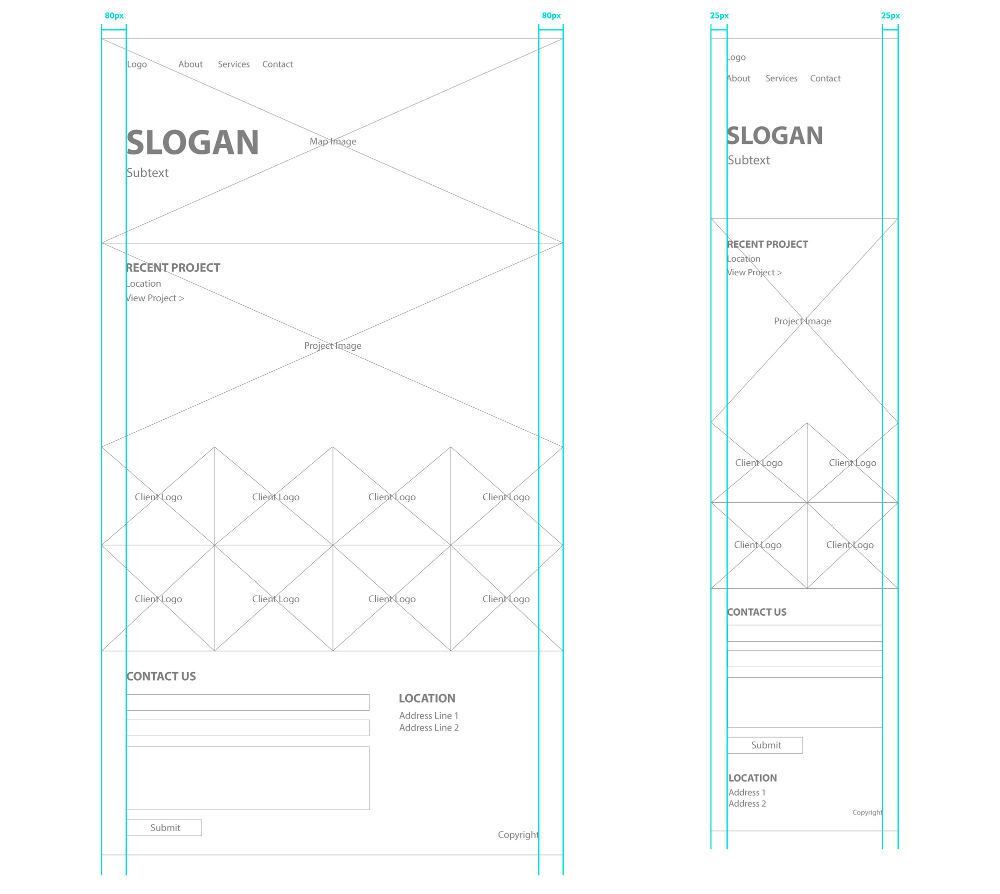 Exhibau wireframe mobile and desktop gutters